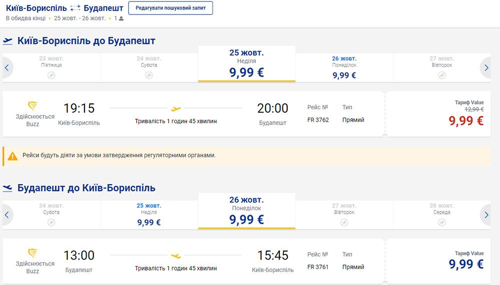 Приклад бронювання квитків Київ - Будапешт - Київ на сайті Ryanair: