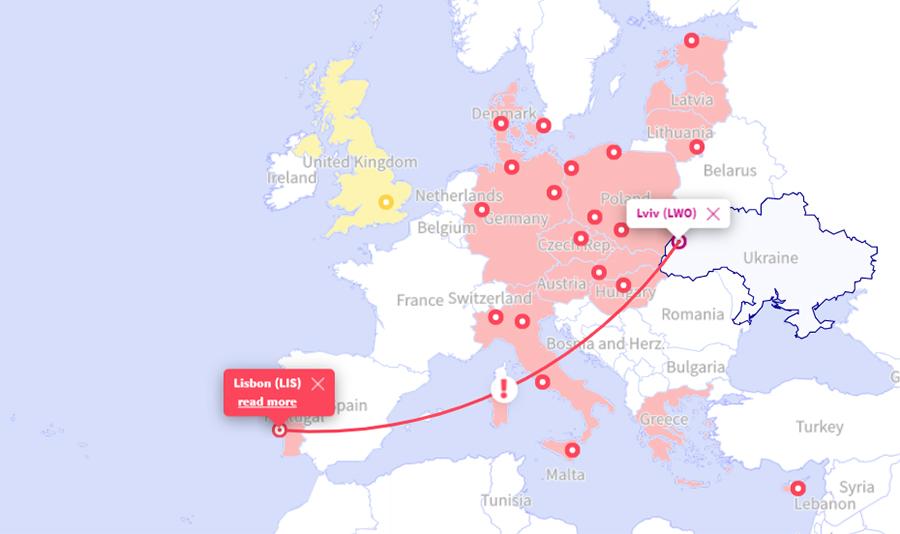 Карта зі Львова в Лісабон