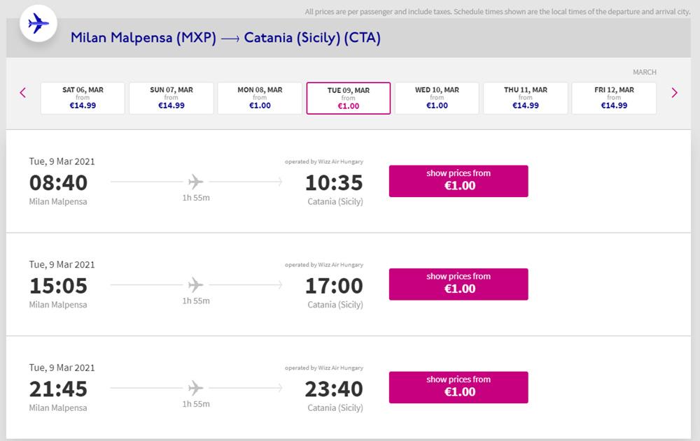 Приклад бронювання квитків Мілан - Катанія на березень 2021 року