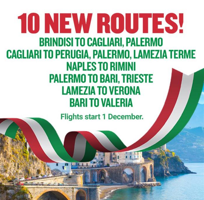 Нові напрямки Ryanair в Італії: