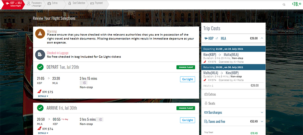 Приклад бронювання Київ - Мальта - Київ на сайті Air Malta: