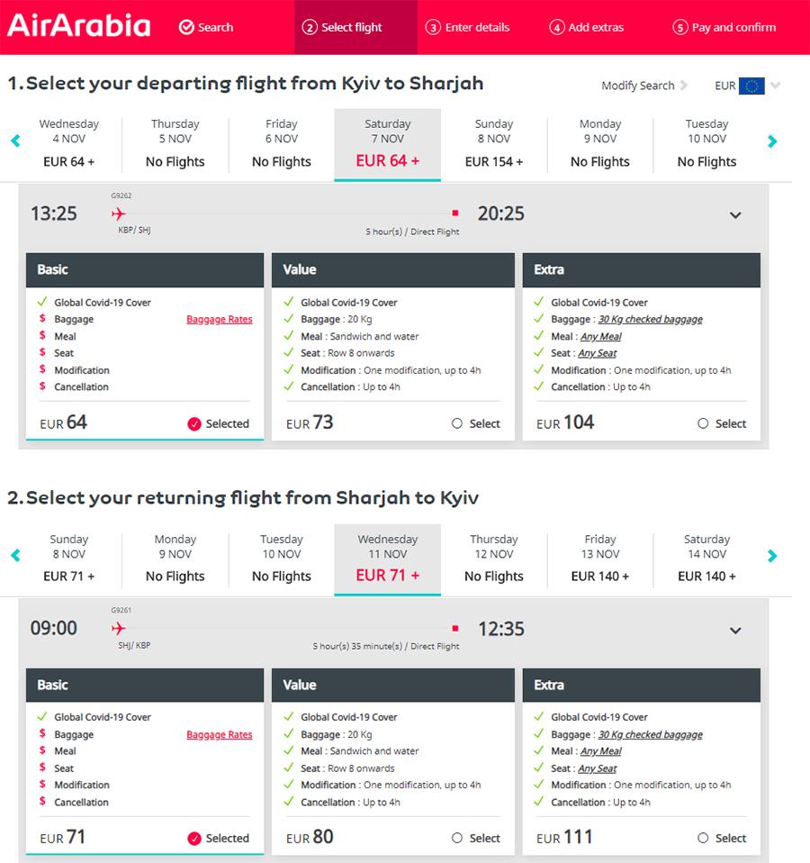 Приклад бронювання квитків Київ - Шарджа - Київ на сайті Air Arabia: