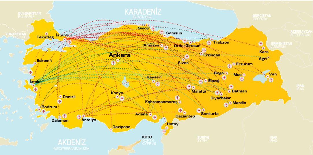 Карта внутрішніх напрямків Pegasus Airlines: