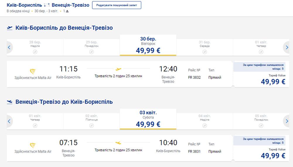 Приклад бронювання квитків Київ - Венеція - Київ на сайті Ryanair:
