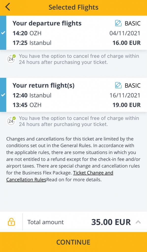 Приклад бронювання квитків Запоріжжя - Стамбул - Запоріжжя в мобільному додатку Pegasus Airlines