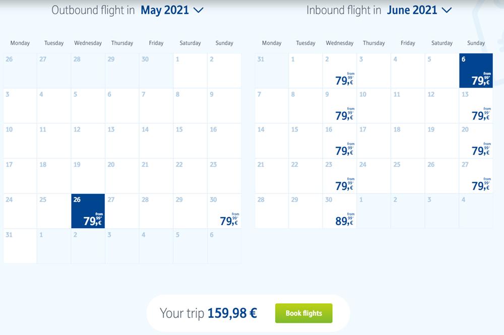 Календар цін на сайті Sun Express