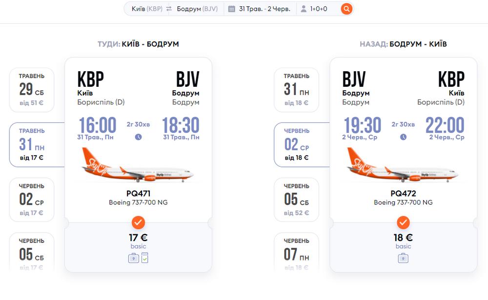 Приклад бронювання акційних квитків Київ - Бодрум - Київ: