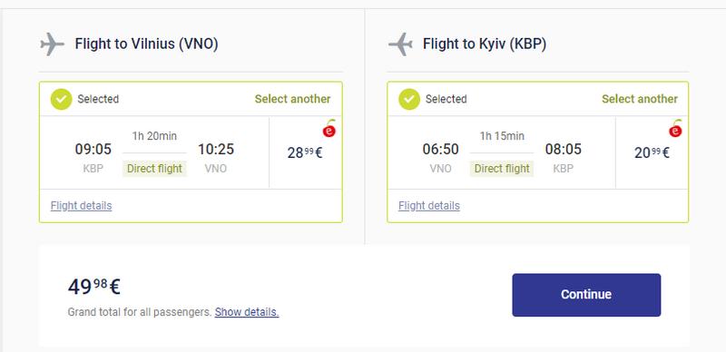 Приклад бронювання акційних квитків Київ - Вільнюс - Київ: