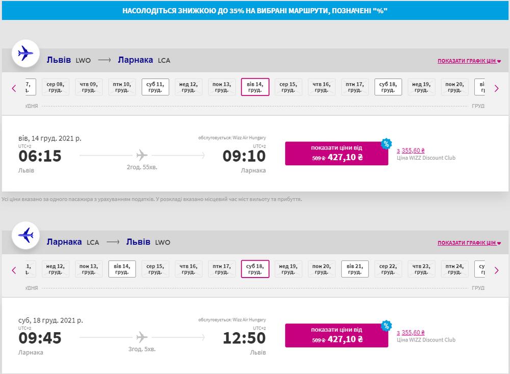 Приклад бронювання квитків Львів - Ларнака - Львів на сайті Wizz Air
