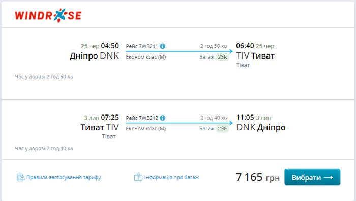 Приклад бронювання квитів Дніпро - Тиват - Дніпро