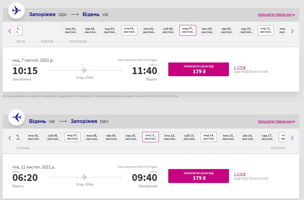 Приклад бронювання квитків Запоріжжя - Відень - Запоріжжя на сайті Wizz Air